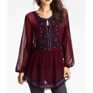 Free People Red Embellished Sheer Tunic XS